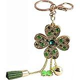 Bolbove Luxury Lucky Four-leaf Clover with Tassel & Metal Ball Keychain Crystal Rhinestone Purse Pendant Handbag Charm (Green)