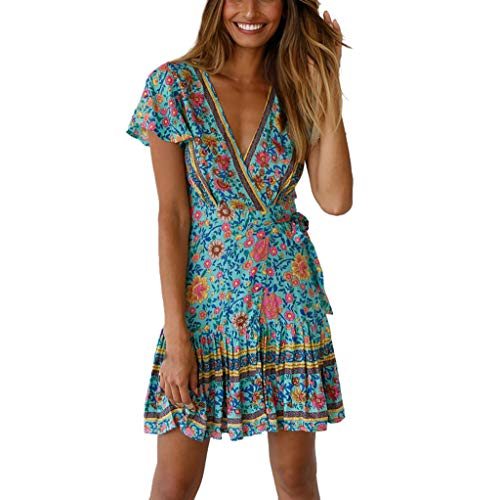 Rakkiss Women Dress Boho Dress Print Dress Mini Dress Ruffled Dress Low Collar Shirt Backless Shirt Green