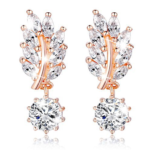 Bamoer Rose Gold Flowers Shape Crystal Earrings Dangle Teardrop Bridal Earring for Wedding