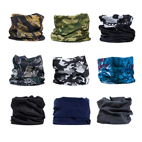 ERAN8 9-Pack Wide Sports Headbands for Women and Men - Athletic Sweat Head Band for Sports, Yoga, Workouts, Running, Gym, and Fitness Exercises - Moisture Wicking Hair Band, Bandana, Ninja mask