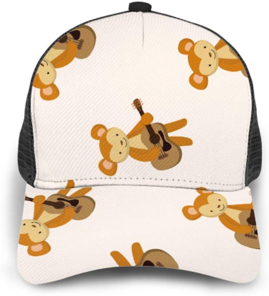 Baseball Cap Animal Monkey Playing Instrument Cartoon Cartoon Adjustable Mesh Unisex Baseball Cap Trucker Hat Fits Men Women Hat