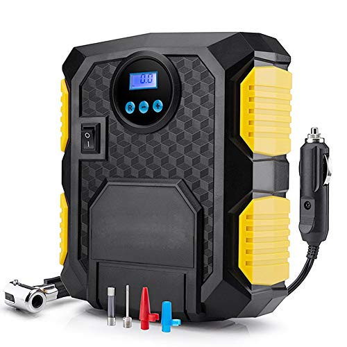 Digital Tire Inflator, 12V DC Car Portable Air Compressor Pump, 150 PSI Car Air Compressor, with Pressure Gauge, LED Light, for Car, Bicycle, Motorbike and Others (Best Bike Lights For Unlit Roads)