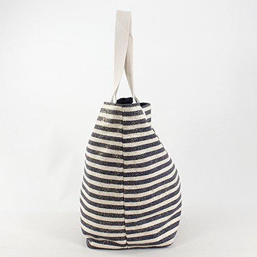 For Time Estampado Marinero, Bolsa de Tela y de Playa para Mujer, Multicolor (Marino), 1 x 36 x 56 cm