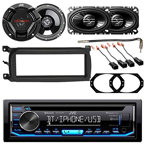 """EnrockAudio in-Dash Single-DIN CD Car Audio Receiver w/Bluetooth/USB 6.5"""" Speakers, CSDR 4x6 Speakers, Dash Kit Select 1998-2009 GM Vehicles, Antenna Adapter, Adapters"""