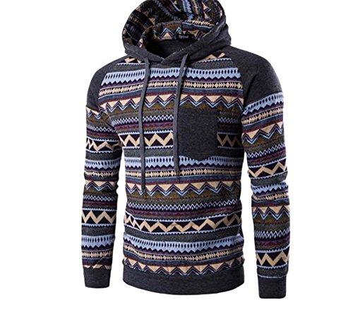 Herren Langarm mit Kapuze Ethno-Stil bedruckt Baumwolle Pullover Sweatshirts:  Amazon.de: Bekleidung