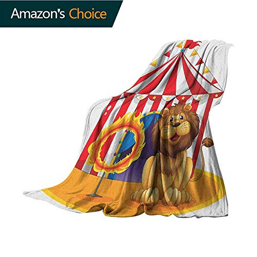Cheap Circus Weighted Blanket Adult Lion Beside The Fire Hoop at The Circus Old Fashion Kids King of Forest Illustration Warm Microfiber All Season Blanket 30