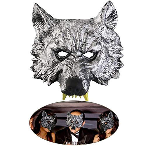 Mens Wolf Halloween Costume (Oliasports Halloween Gray Wolf Head Mask Adult Wolf Mask)