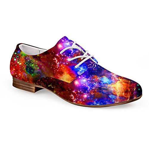 Lace-up Flat Synthetic Leather Casual Oxford Flats Fashion Galaxy Star Print Shoes Space 4 bi3ey