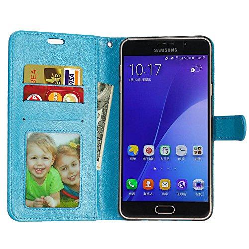 Laybomo Schuzhülle Samsung Galaxy A7 (2016) A710F Hülle Ledertasche Weiches Silikon TPU Beutel Schützend Stehen Bilderrahmen Brieftasche Schale Tasche Handyhülle für Samsung A7 (2016) A710F (Rose) Blau 4biiq