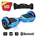 "6.5"" inch Wheels Electric Smart Self Balancing Scooter Hoverboard With Bluetooth Speaker LED Light - UL2272 Certified (Chrome Blue)"