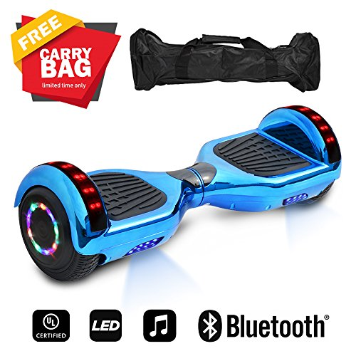 """6.5"""" inch Wheels Electric Smart Self Balancing Scooter Hoverboard With Bluetooth Speaker LED Light - UL2272 Certified (Chrome Blue)"""