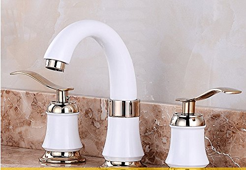 AWXJX Copper European Style Cold Copper 3 Hole Gold Toilet Bathroom Sink Taps