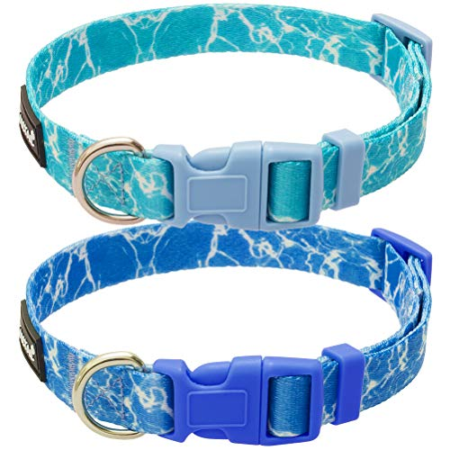 KOOLTAIL Adjustable Hawaii Large Dog Collars with Water Wave Printing 2 Pack Summer Ripple Pattern Design for Medium Large Dogs