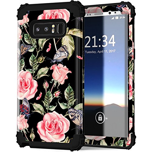 Hekodonk Compatible Samsung Galaxy Note 8 Case, Shockproof Premium Anti-Scratch Hybrid Dual Layer TPU Gel Silicone Bumper Hard PC Protective Cover for Samsung Galaxy Note 8 (Vintage Rose/Black)