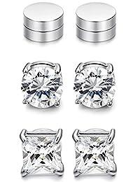 JOERICA 2-4 Pairs Stainless Steel Magnetic Stud Earrings for Men Women Non Piercing Clip on CZ Earrings 6-8MM (G:3 Pairs a Set,6MM,White)