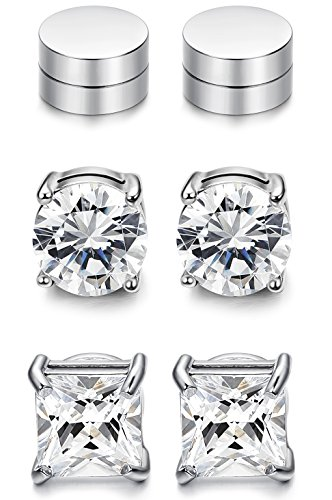 1cdb6dacd JOERICA 3 Pairs 8MM Stainless Steel Magnetic Stud Earrings for Men Women  Non Piercing Clip on