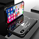 iPhone X Case, wskshop New Premium Slim Aluminum Metal and Rubber Shockproof and Drop Protection Waterproof case Cover for iPhone X Support Wireless Charging (iPhone X, Big Spider)