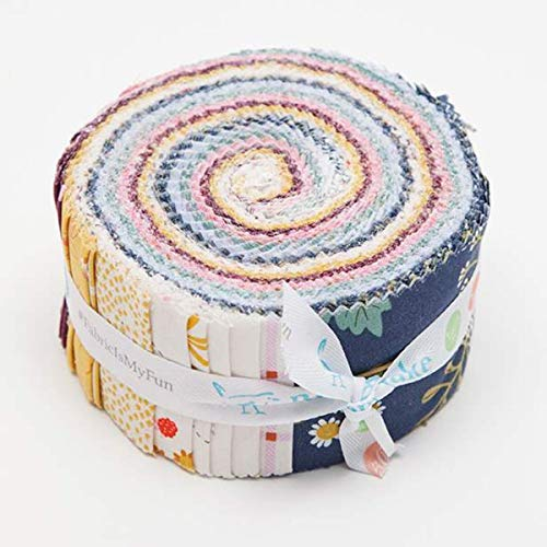 Citrus & Mint Designs Wild Bouquets Rolie Polie 40 2.5-inch Strips Jelly Roll Riley Blake RP-7470-40