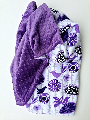 Adult Minky Throw Blanket - Purple Minky Bedding - Floral Blanket - Dorm Room Blanket - Birds Blooms - Couch Throw, Size 50 x 60 in