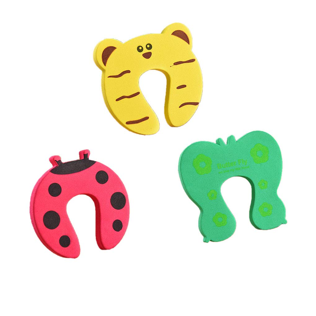 F-blue 5Pcs Baby Hand Pinch Guard Set Security Stopper Children Safety Cartoon Animal Door Stop Cushion