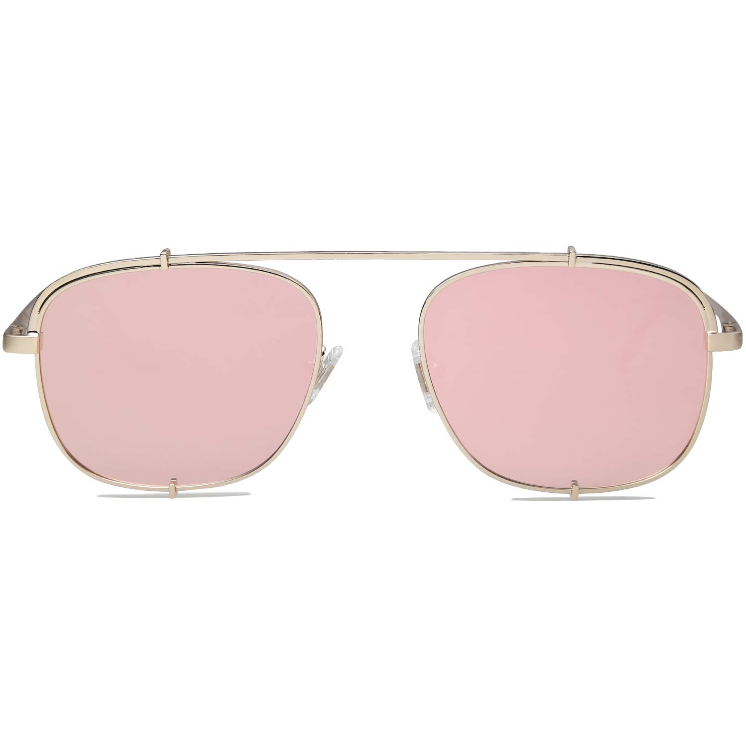 SOJOS Small Square Polarized Sunglasses with Spring Hinges Mirrored Lens SUNRAYS SJ1103 with Gold Frame/Pink Mirrored Polarized Lens by SOJOS