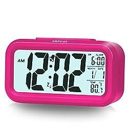 ZHPUAT Alarm Clock for Kids, 4.6 Smart Backlight Digital Clock with Dimmer for Girls (Pink)
