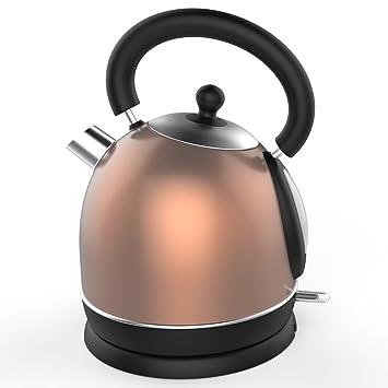 Schäfer Edelstahl Retro-Wasserkocher Design Wasser Kocher 2200 W 1,7 L Schwarz