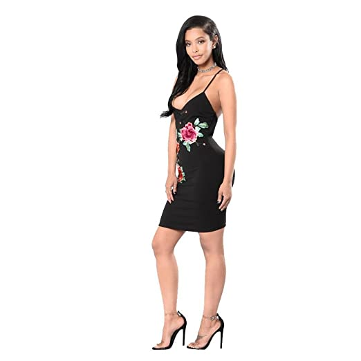 Rumas Women Summer V Neck Embroidery Bandage Sexy Backless Dress at Amazon Womens Clothing store: