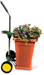 EJWOX Garden Pot Mover with Adjustable Handle - Heavy Duty Plant Dolly Caddy with Sturdy Flat-Free Wheels and Gripping Suction Cups, Max 165 Lbs Weight Capacity