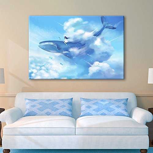 Hand Drawing Style Girl Sitting on Blue Whale Above The Clouds