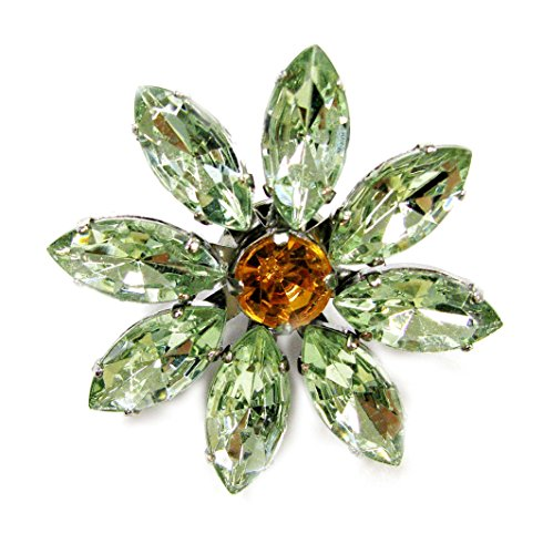 Linpeng Multi-Purpose Flower Shape Acrylic Jewel Stone Pin Brooch-FSBR-13-Green, Green ()