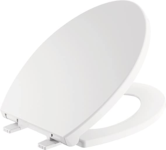 Delta Faucet Morgan Elongated Slow-Close White Toilet Seat with Non-Slip Seat Bumpers