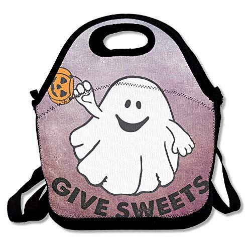 GoldBaoWang Halloween Ghost Neoprene Lunch Picnic Bag Insulated Lunch Box Waterproof Lunch Tote with Zipper Strap for Women Kids Boys Girls and Men]()