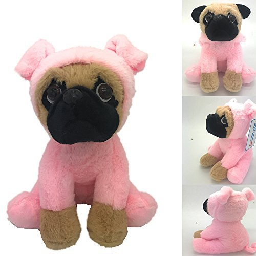 Joy Amigo Stuffed Pug Dog Puppy Soft Cuddly Animal Toy in Costumes - Super Cute Quality Teddy Plush 10 Inch (Pig) -