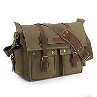 "Kattee Retro Unisex Canvas Leather Messenger Shoulder Bag Fits 14.7"" Laptop"