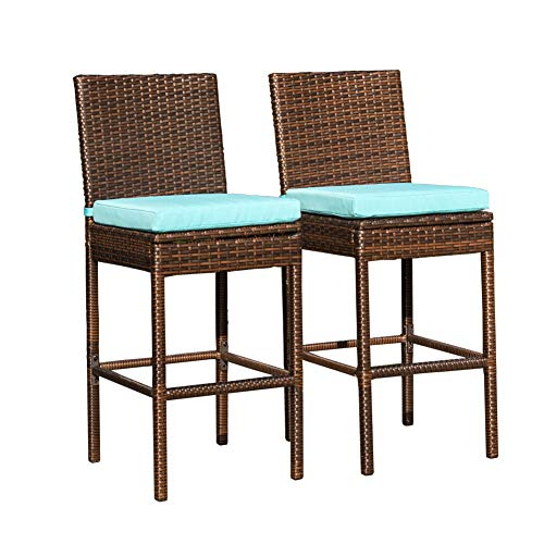 Sundale Outdoor 2 Pcs All Weather Patio Furniture Brown Wicker Barstool with Cushions, Blue (Bar Patio Stools)