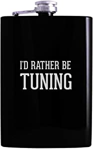 I'd Rather Be TUNING - 8oz Hip Alcohol Drinking Flask, Black