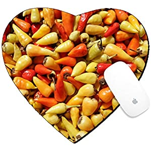 Luxlady Mousepad Heart Shaped Mouse Pads/Mat design IMAGE ID: 34618449 red and yellow chillis