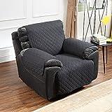 Oversized Armchair Argstar Reversible Recliner Chair Cover Anti Slip Furniture Slipcover Black/Light Gray
