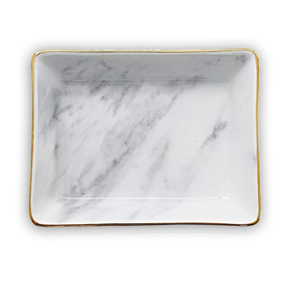 Marble Ceramic Jewelry Tray Ring Dish Ring Holder Display Organizer with Golden Edged Wedding Valentine s Day Housewarming Gift Grey Small