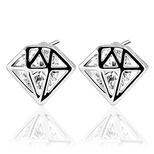 UHIBROS Diamond Shaped Earrings, Unisex Hypoallergenic Stainless Steel - Diamond Titanium Earrings