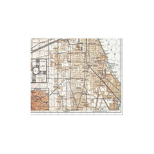 Media Storehouse 252 Piece Puzzle of Map of Chicago 1895 - Engraving 1880 Antique