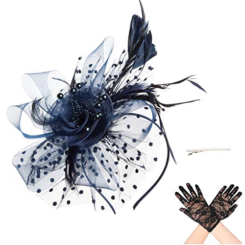SAFERIN Fascinators Mesh Hat Fascinator with Mesh Ribbons and Navy Feathers for Girls and Women with Black Lace Glove(TA7-Navy with Glove)