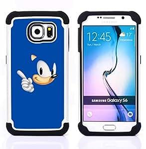 GIFT CHOICE / Defensor Cubierta de protección completa Flexible TPU Silicona + Duro PC Estuche protector Cáscara Funda Caso / Combo Case for Samsung Galaxy S6 SM-G920 // Blue Hedgehog //
