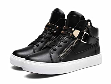 Men Lightweight Sneakers 2017 Autumn Winter New Fashion High Top Trainers  Side Zipper Flats Shoes (
