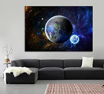 The Earth Print Picture Moon Planet World Space Poster Bedroom Wall Decor Art