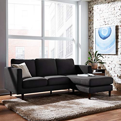 "Rivet Revolve Modern Upholstered Sofa with Reversible Sectional Chaise, 80""W, Storm Grey"