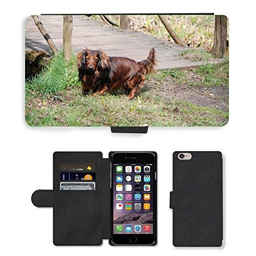 """Just Phone Cases PU Leather Flip Custodia Protettiva Case Cover per // M00128334 Teckel Chien Amis des animaux // Apple iPhone 6 PLUS 5.5"""""""