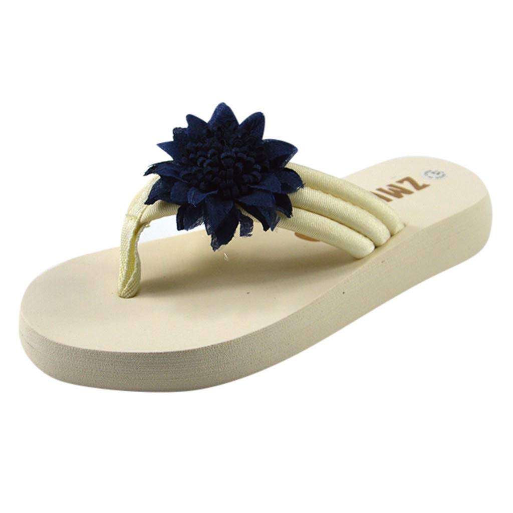 HLIYY Pantoufles De Talus De Plage Chaussures de Sport Mode D/éContract/éE pour Dames Sandales /à Chevrons Sandales en /éPonges /à La Fleur du Soleil Printemps /Ét/é