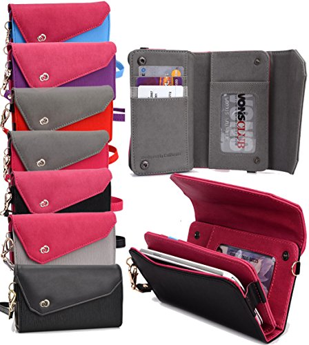 Htc Dash 3g (Universal Women's Wallet Shoulder Bag with Wrist Strap Phone Clutch - BLACK & PINK|T-Mobile Arizona| T-Mobile Comet|T-Mobile Concord|T-Mobile Dash 3G|T-Mobile Dash|T-Mobile Energy|T-Mobile G1|T-Mobile)